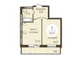 ОНИКС: 1-комнатная 40,57 кв.м