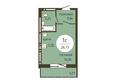 ОНИКС: 1-комнатная 28,73 кв.м