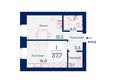 SCANDIS (Скандис), дом 4: Планировка однокомнатной квартиры 37,7 кв.м