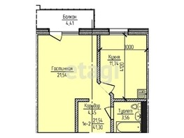 1-комнатная квартира, 42.62  м², 9/22 этаж