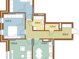 3-комнатная квартира, 78.63  м², 2/23 этаж
