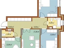 3-комнатная квартира, 79.34  м², 15/22 этаж