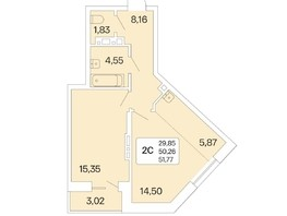 2-комнатная квартира, 51.77  м², 18/22 этаж