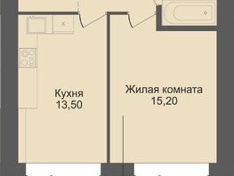 1-комнатная квартира, 40.4  м², 2/12 этаж