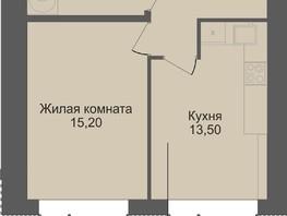1-комнатная квартира, 40.7  м², 2/12 этаж
