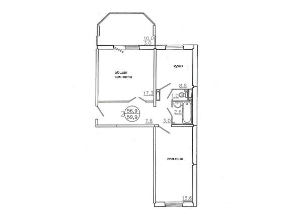 Планировки Жилой комплекс Караульная, 6 дом, 3 оч - Планировка двухкомнатной квартиры 59,9 кв.м.