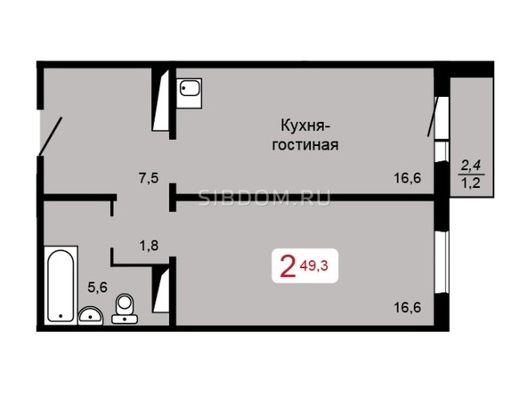 Планировка 2-комн 49,3 м²