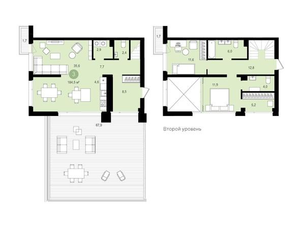 Планировка 2-комн 184,49, 184,5 м²