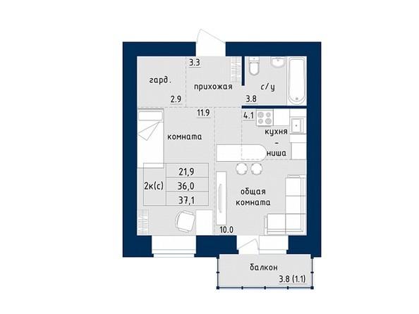 2-комнатная 37.1 кв.м