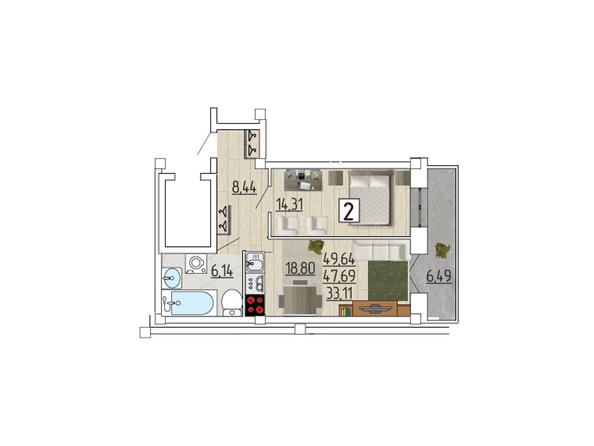 Планировка 2-комн 49,64 м²
