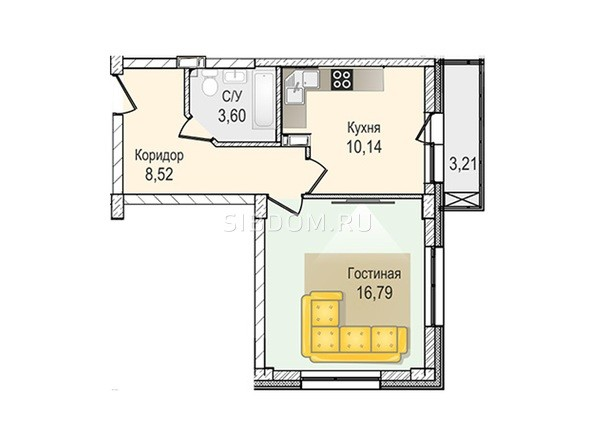 Планировки Жилой комплекс КрымSky, дом 8 - 1-комнатная 39,05 кв.м