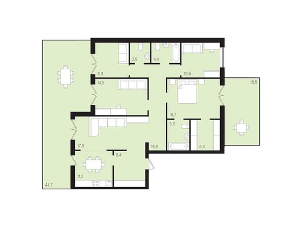 Планировки Жилой комплекс ДУНАЕВСКИЙ, дом 3 - Планировка четырехкомнатной квартиры 123,95 кв.м