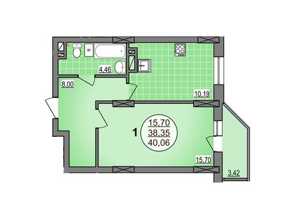 1-комнатная 40.06 кв.м