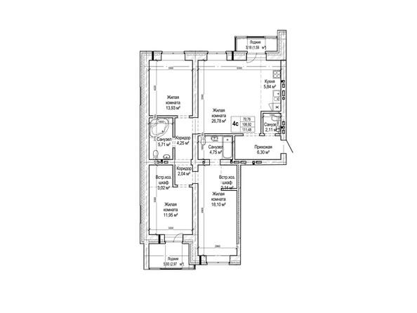 Планировки Жилой комплекс ГРИНАРТ, дом 5 - Планировка четырехкомнатной квартиры 106,9 кв.м.