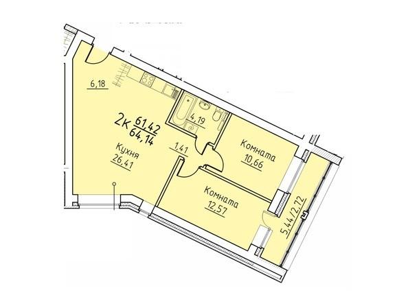 Планировка 2-комн 64,14 м²