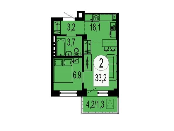 Планировка двухкомнатной квартиры 33,2 кв.м