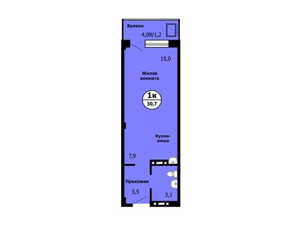 Планировка Студия 30,6 - 30,8 м²