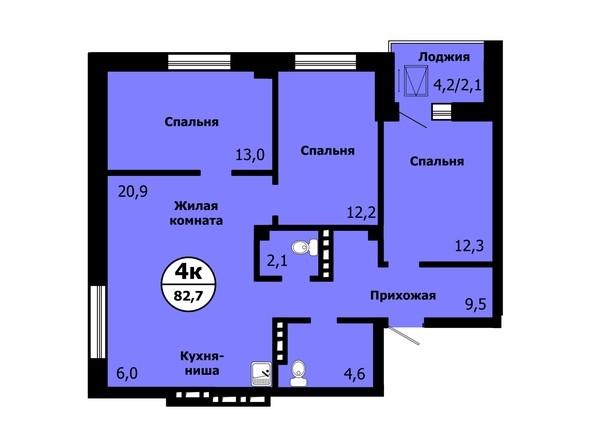 Планировка 4-комн 82,4 - 82,7 м²