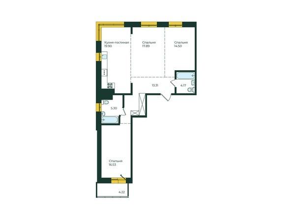3-комнатная 95,82 кв.м
