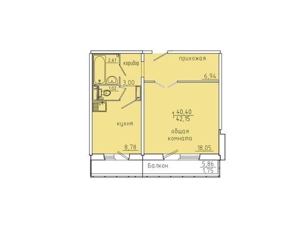 Планировки Жилой комплекс Иннокентьевский, 3 мкр, дом 6 - Планировка однокомнатной квартиры 42,15 кв.м