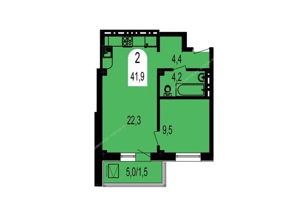 Планировка двухкомнатной квартиры 41,9 кв.м