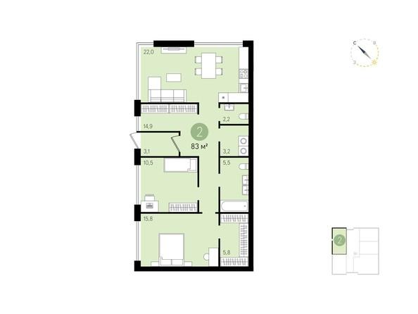 Планировка 2-комн 83 м²