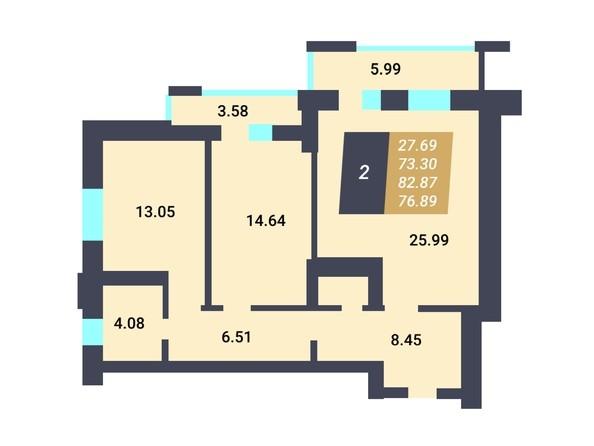 Планировка 2-комн 73,3 м²