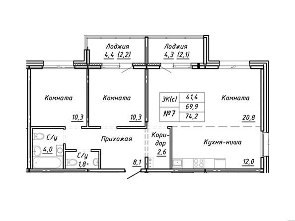 3-комнатная 74.2 кв.м