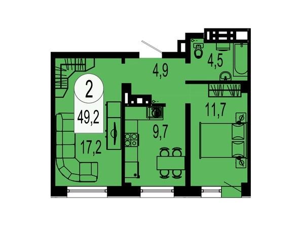 Планировка двухкомнатной квартиры 49,2 кв.м