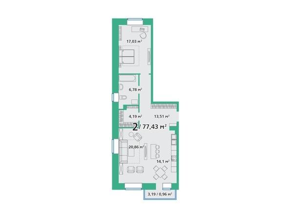Планировка 2-комн 77,43 м²