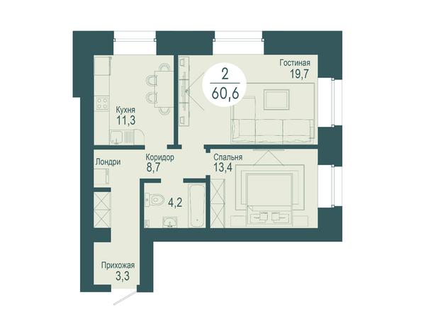 2-комнатная 60,6 кв.м