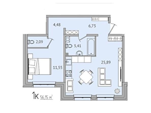 1-комнатная 56,15 кв.м