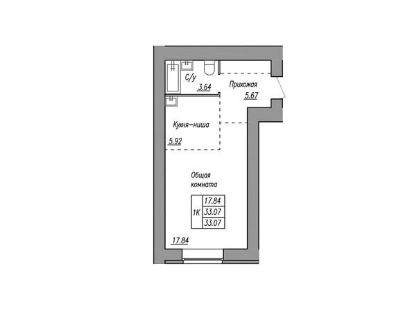 Планировки МАЯКОВСКИЙ - 1-комнатная 33,07 кв.м