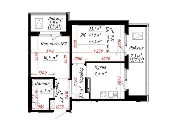 Планировка 2-комн 47,4 м²