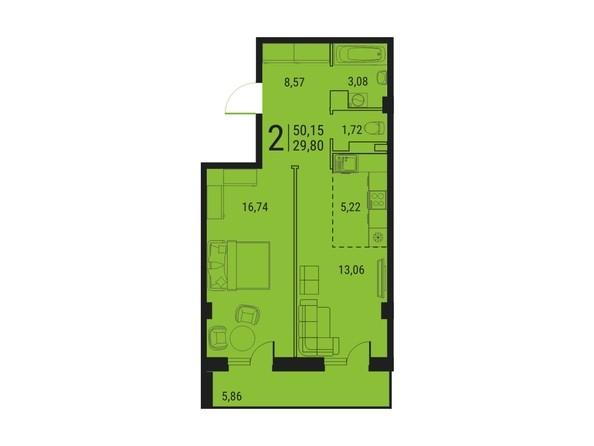 Планировка 2-комн 50,15 м²