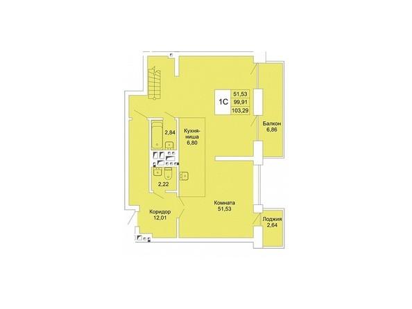 Планировки Жилой комплекс РАСЦВЕТАЙ НА МАРКСА, дом 1 - 1-комнатная студия хайфлэт 103,29 кв.м