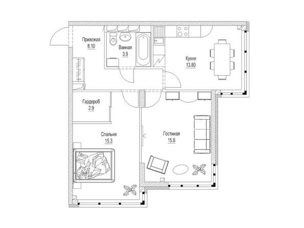 Планировка 2-комн 62,8 м²
