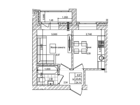 Планировка 1-комн 23,4 м²