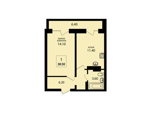 Планировки Жилой комплекс VIVANOVA (Виванова) - Планировка однокомнатной квартиры 38,5 кв.м