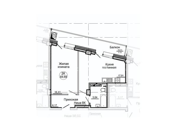 Планировки ГЛОБУС, дом 8 - Планировка двухкомнатной квартиры 48,68 кв.м