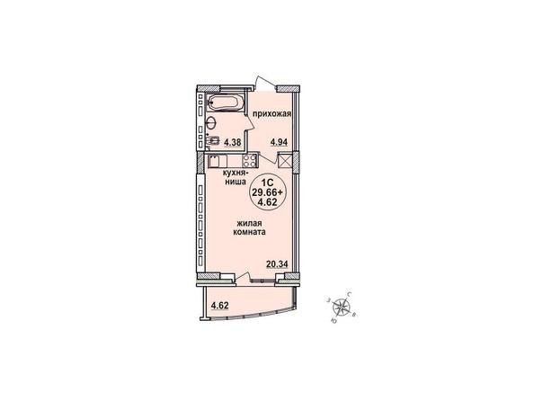 Планировки Жилой комплекс ЗАЕЛЬЦОВСКИЙ, 1 этап - Планировка однокомнатной квартиры 29,66 кв.м