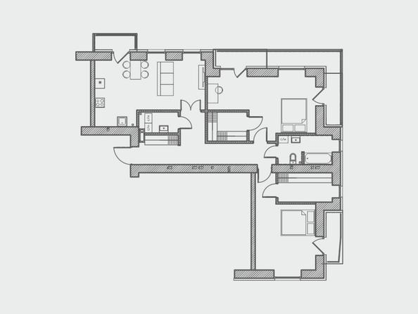 Планировки Жилой комплекс ПРЕОБРАЖЕНСКИЙ, дом 4 - Планировка трехкомнатной квартиры 107 кв.м