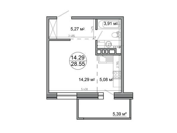 Планировка 1-комн 28,55 м²