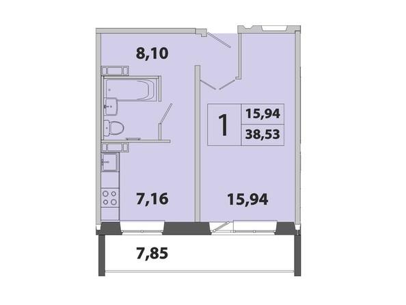 1-комнатная 38.53 кв.м