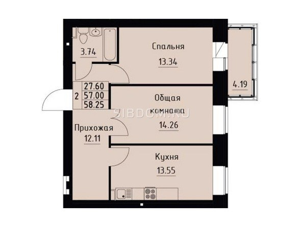 Планировка 2-комн 58,25 м²