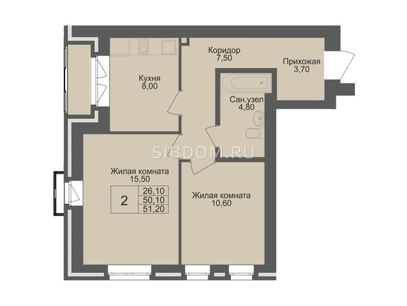 Планировка 2-комн 50,1 м²