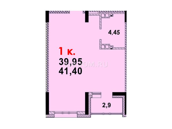 Планировка 1-комн 41,1 м²