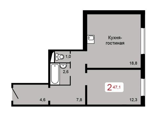 Планировка 2-комн 47,1 м²