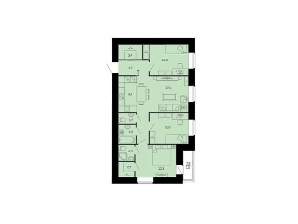 Планировки Жилой комплекс МАРС, дом 10 - Планировка четырёхкомнатной квартиры 80,8 кв.м