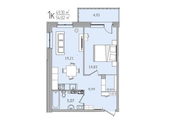 1-комнатная 54,02 кв.м